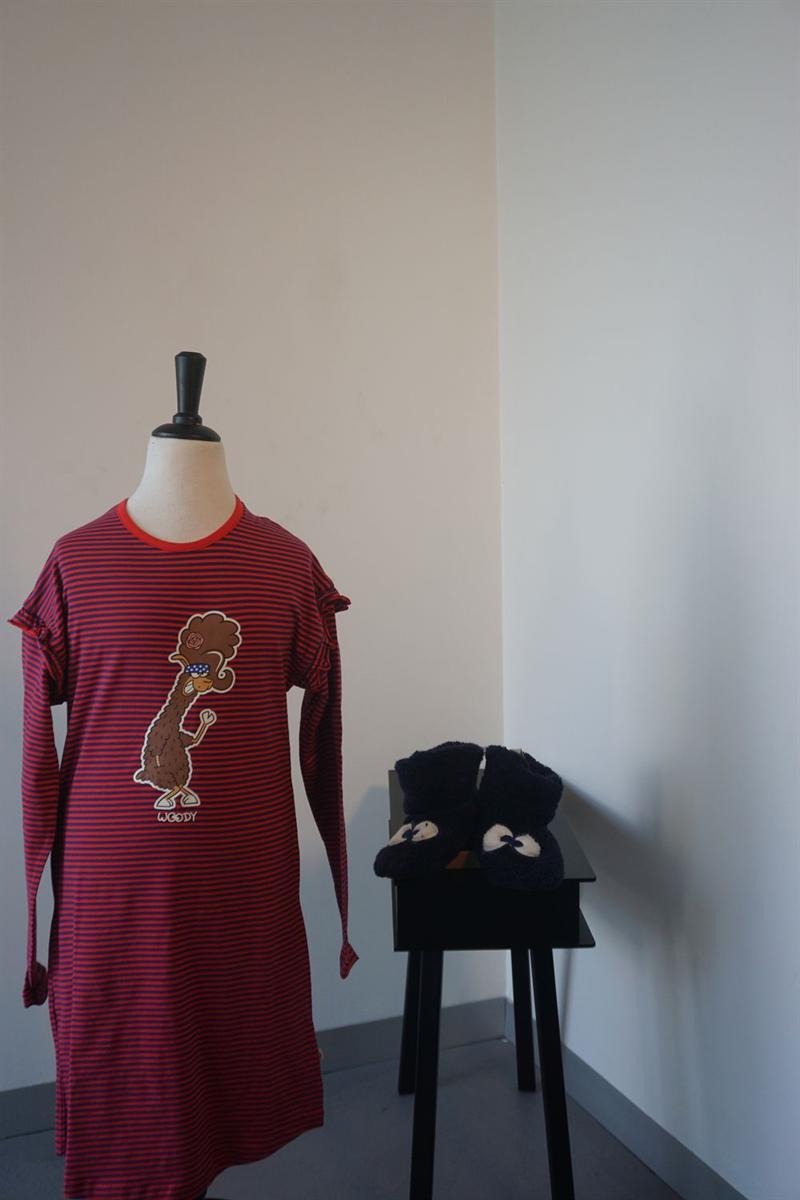 Japon meisjes - WOODY - 192-1-DZF-Z/943 - rood-donkerblauw gestreept