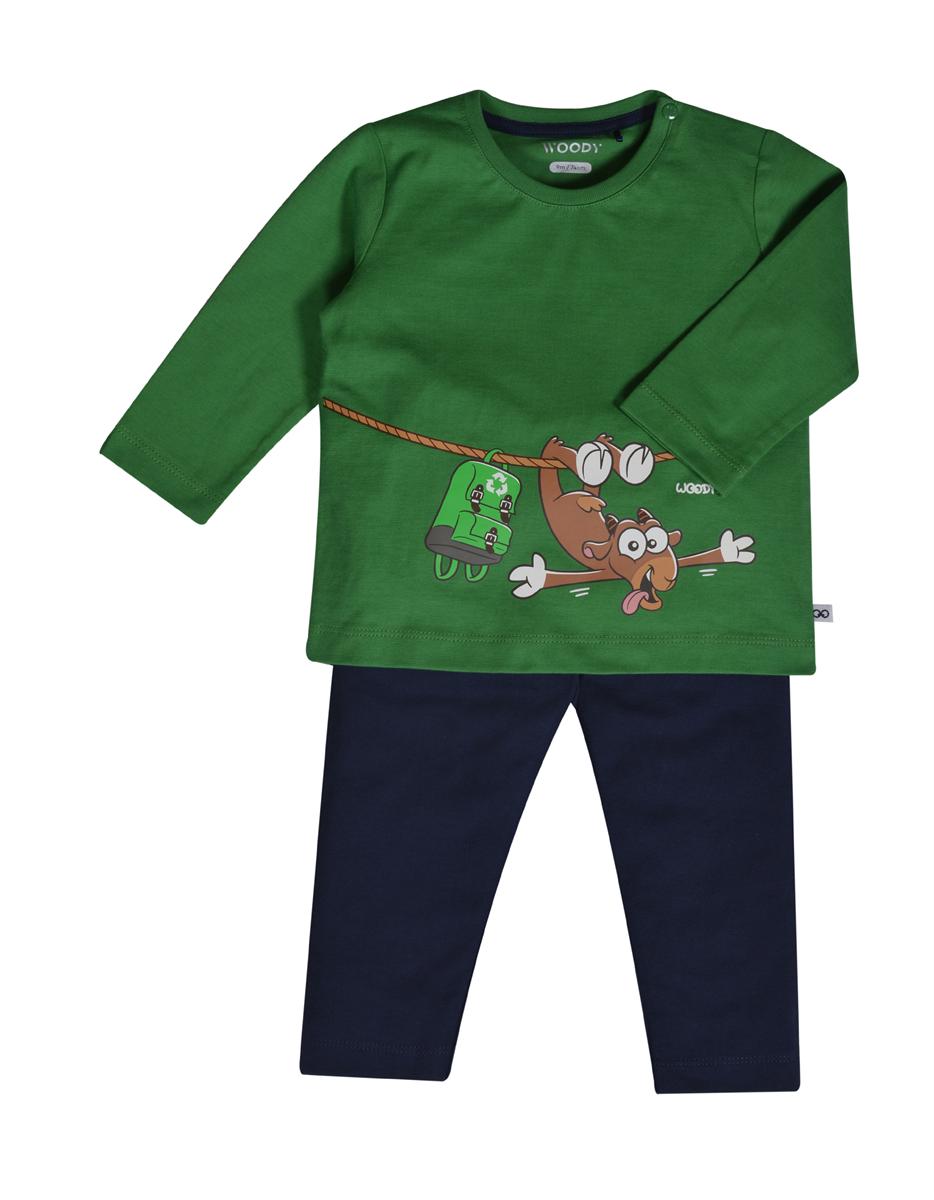 PYJAMA KIDS - LITTLE WOODY - 202-3-PLU-S/735 - woudgroen
