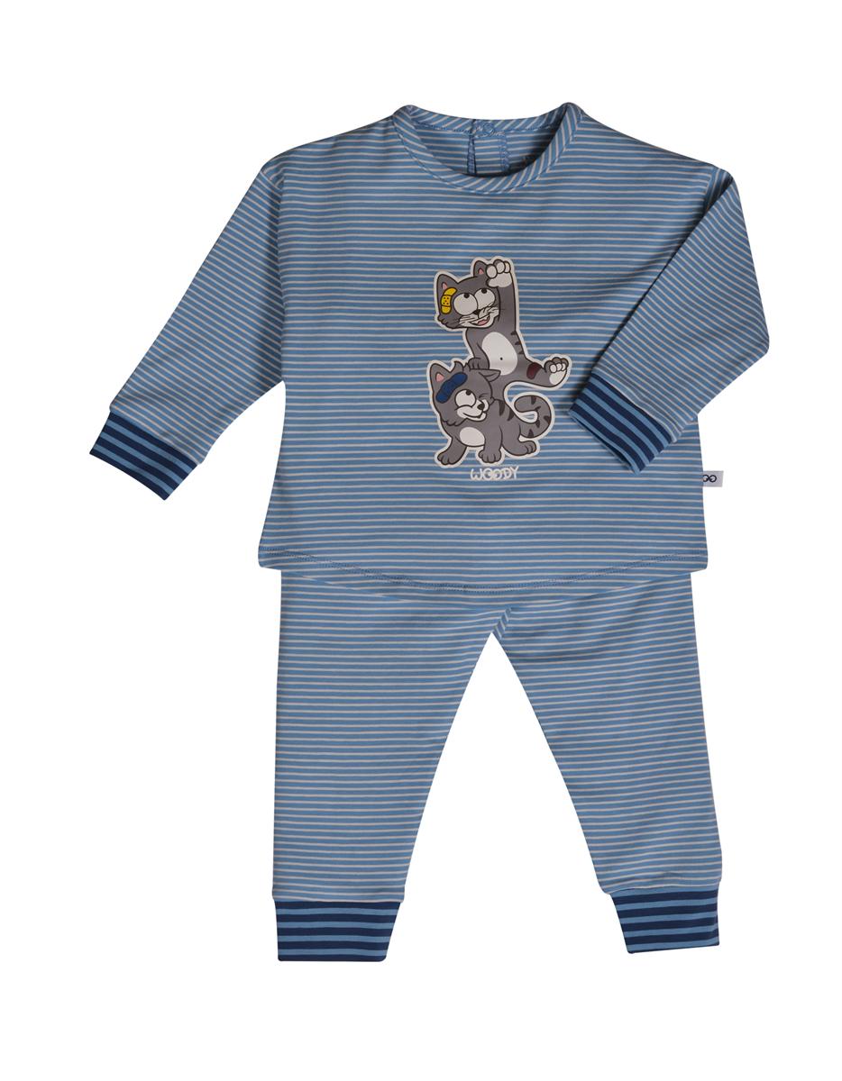 PYJAMA KIDS - LITTLE WOODY - 202-3-PZG-Z/981 - grijs met kat gestreept