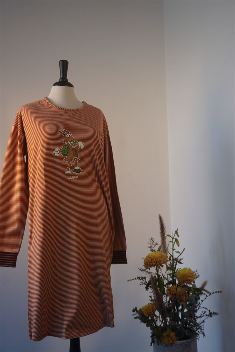 Japon dames - WOODY - 202-1-DZF-Z/953 - roest-beige gestreept
