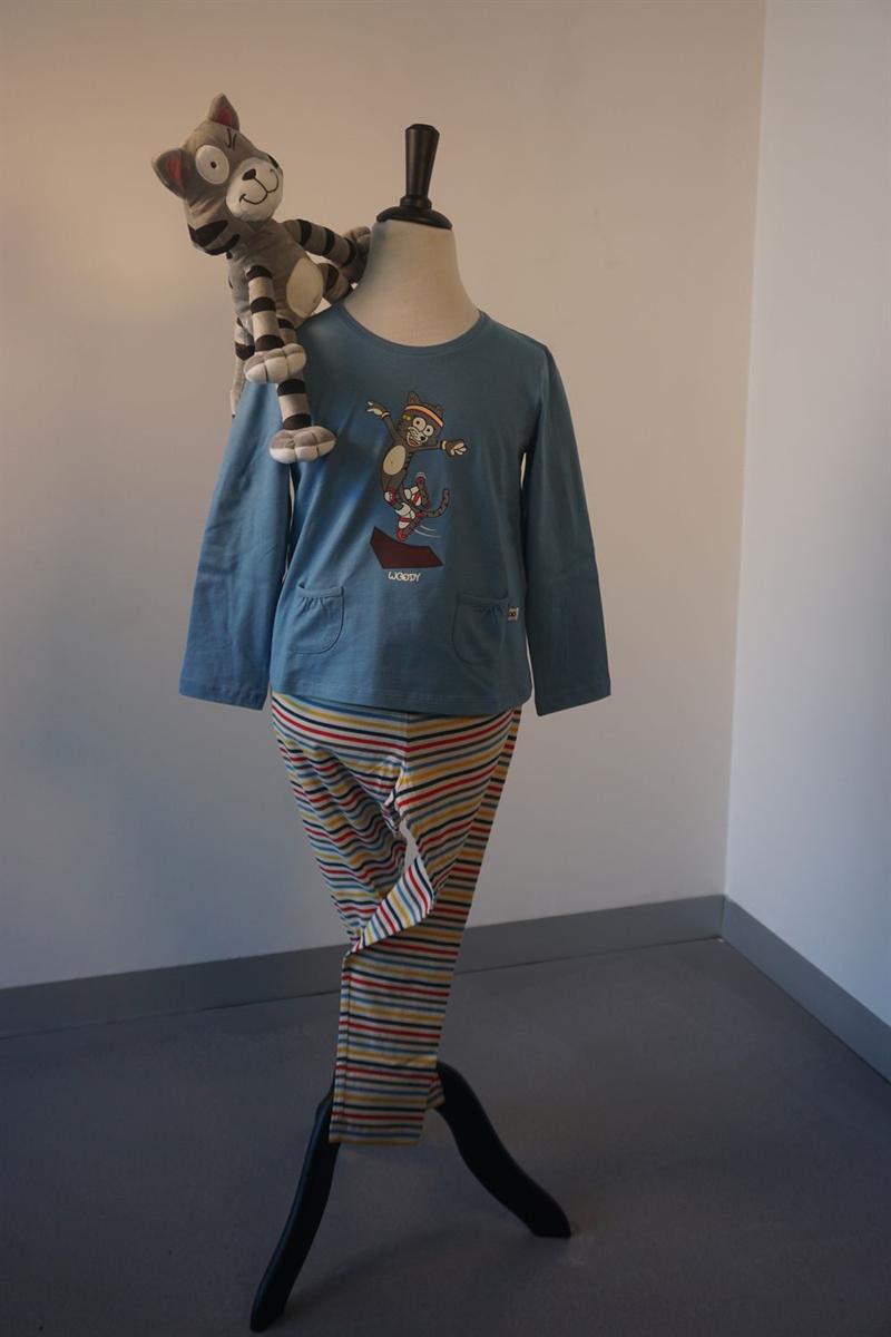 Pyjama meisjes - Woody - 202-1-BSL-S/845 - blauw