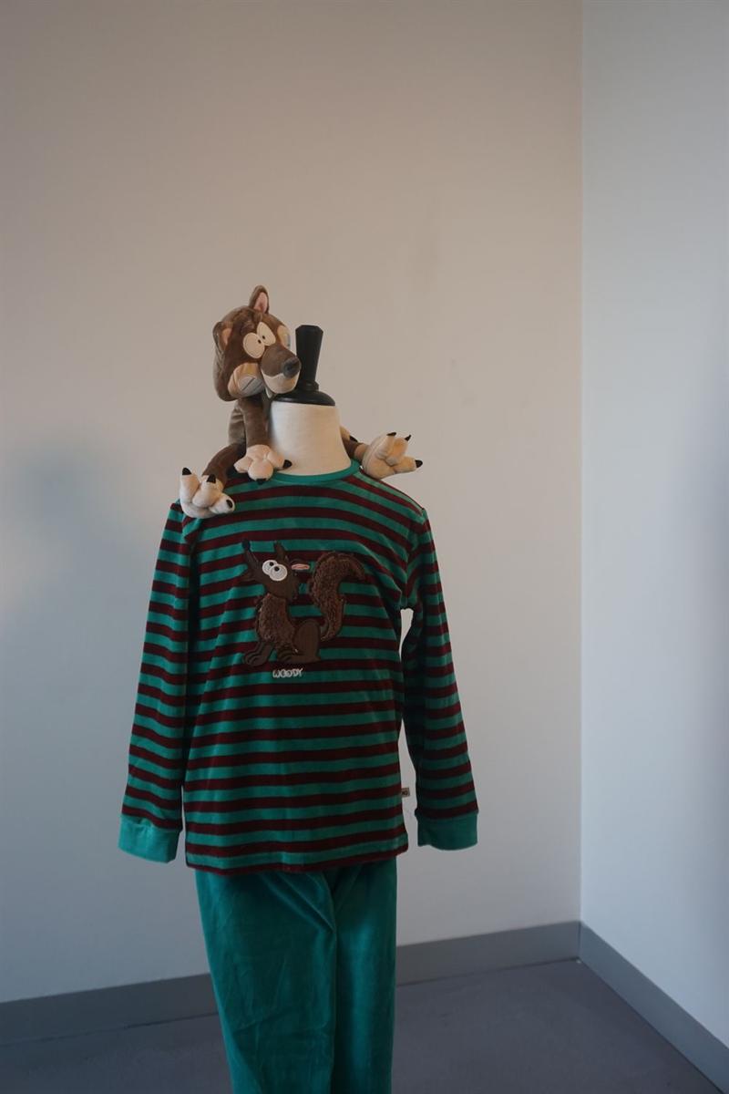 Pyjama jongens - Woody - 202-1-PLC-V/947 - groen-bordeaux gestreept
