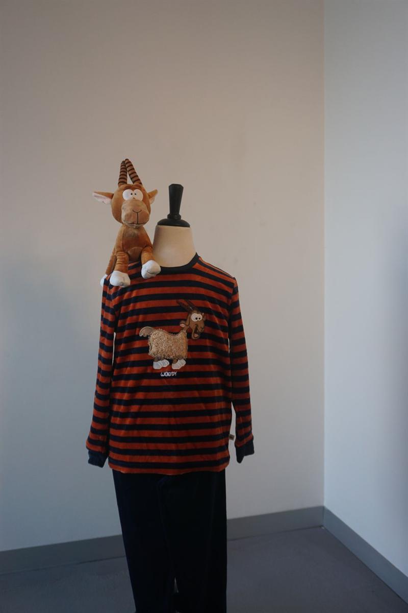 Pyjama jongens - Woody - 202-1-PLC-V/965 - donkerblauw-roest gestreept