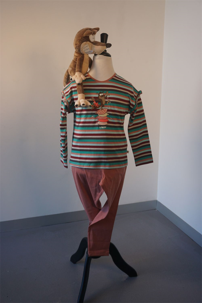 Pyjama meisjes - Woody - 202-1-PLG-S/975 - multicolor gestreept