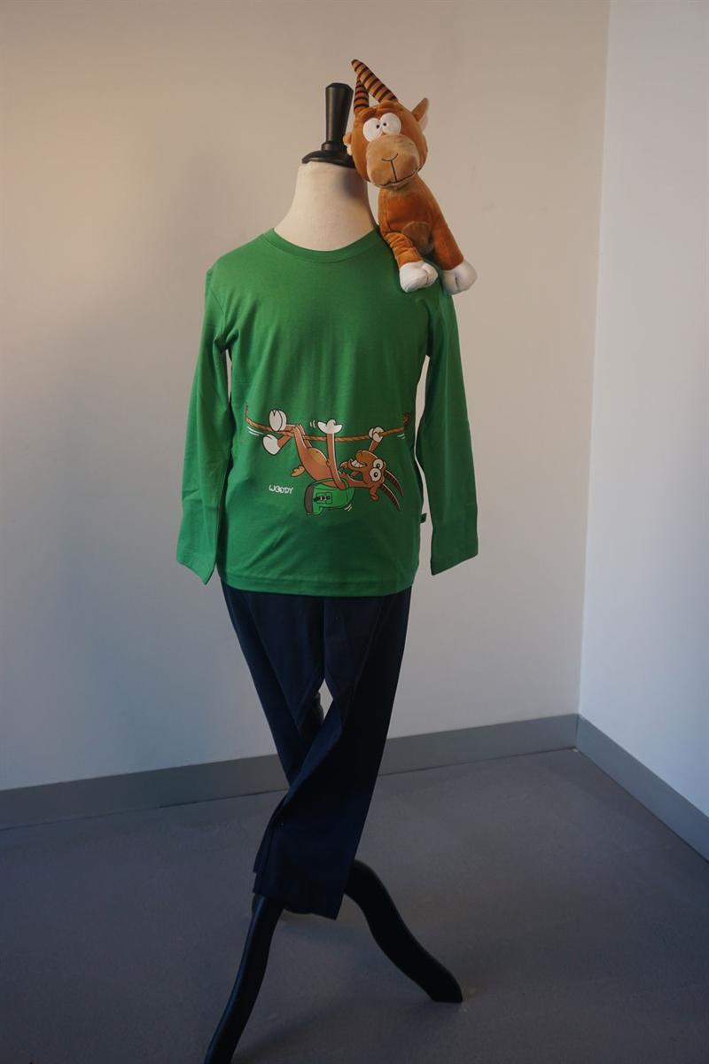 Pyjama jongens - Woody - 202-1-PLU-S/735 - woudgroen