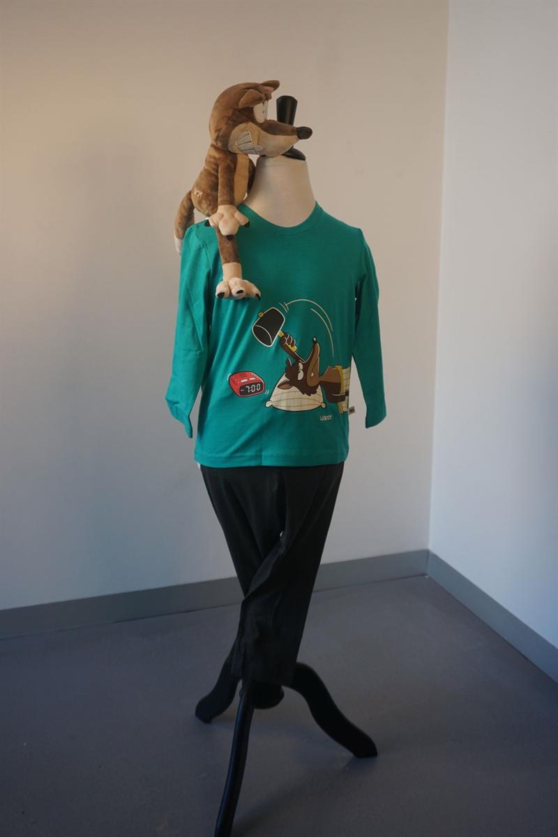 Pyjama jongens - Woody - 202-1-PLU-S/752 - aquagroen