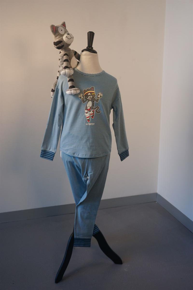 Pyjama meisjes - Woody - 202-1-PZG-Z/981 - grijs met kat gestreept