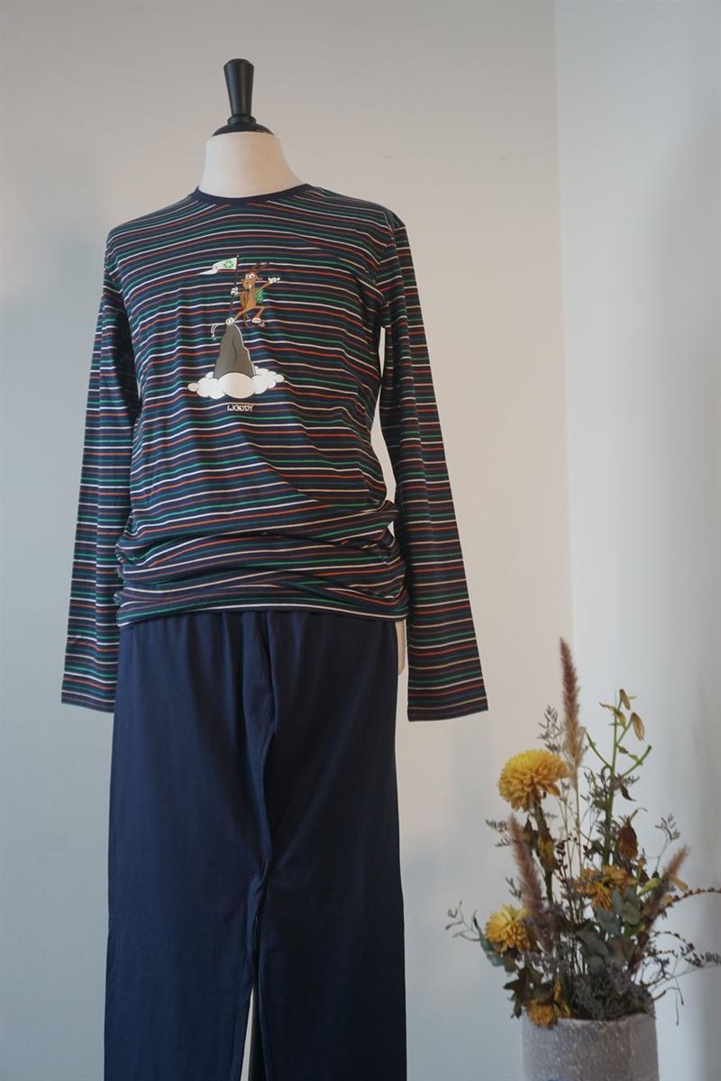 Pyjama heren - Woody - 202-1-PLS-S/987 - multicolor gestreept