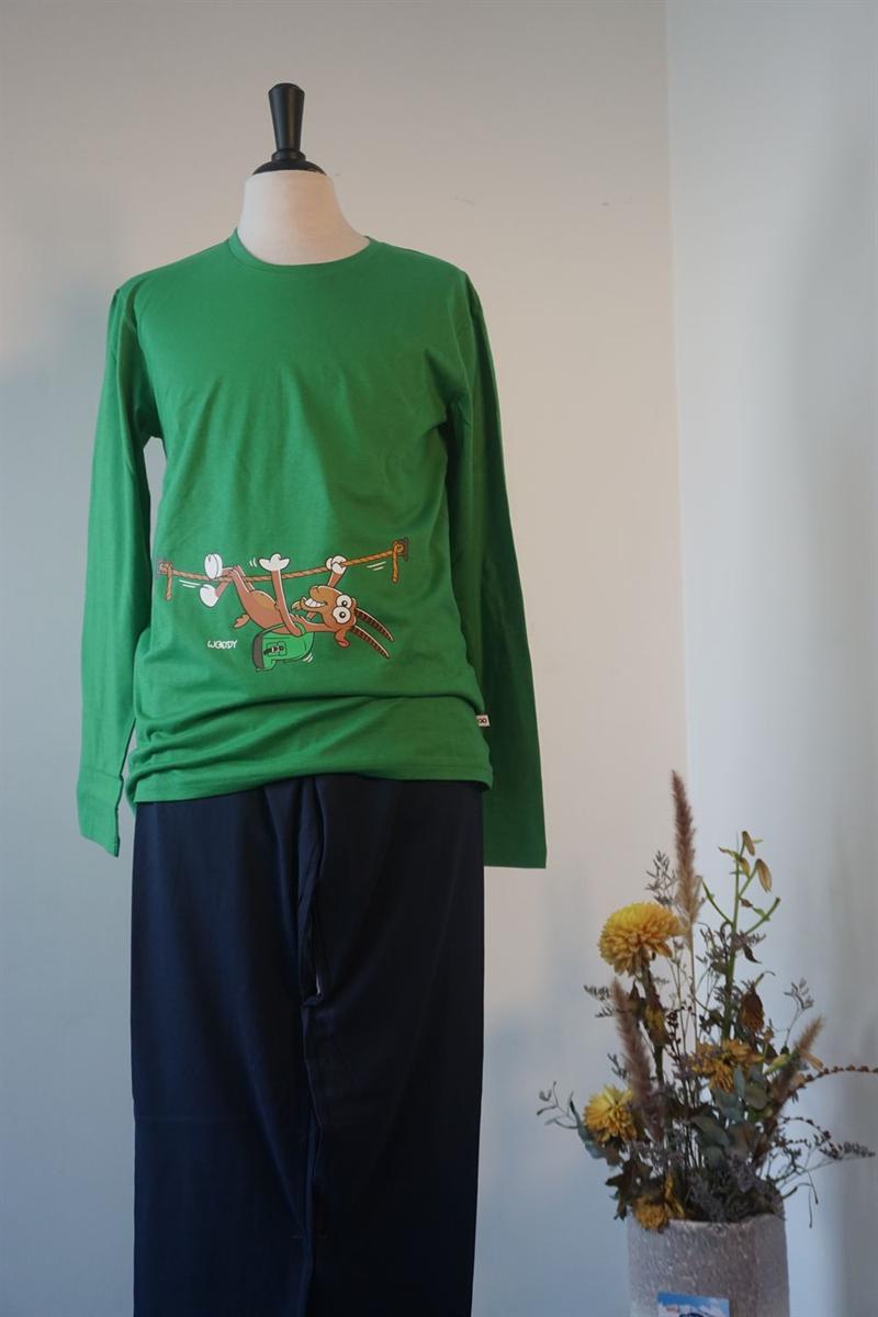 Pyjama heren - Woody - 202-1-PLU-S/735 - woudgroen