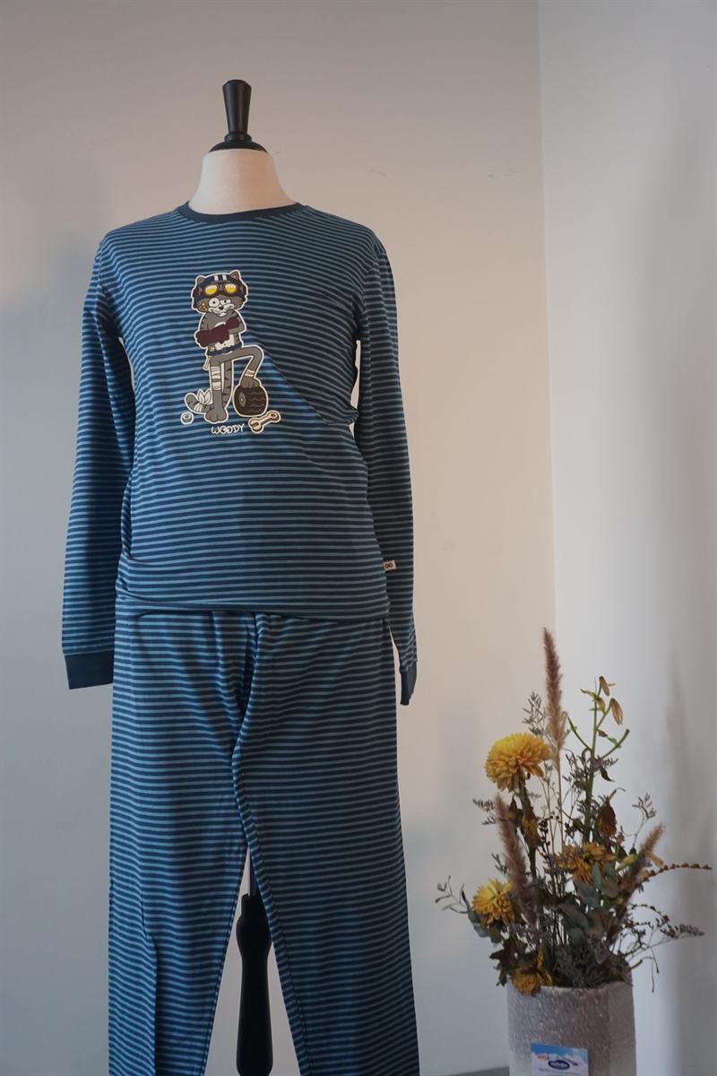 Pyjama heren - Woody - 202-1-PZL-Z/988 - donkerblauw-blauw gestreept