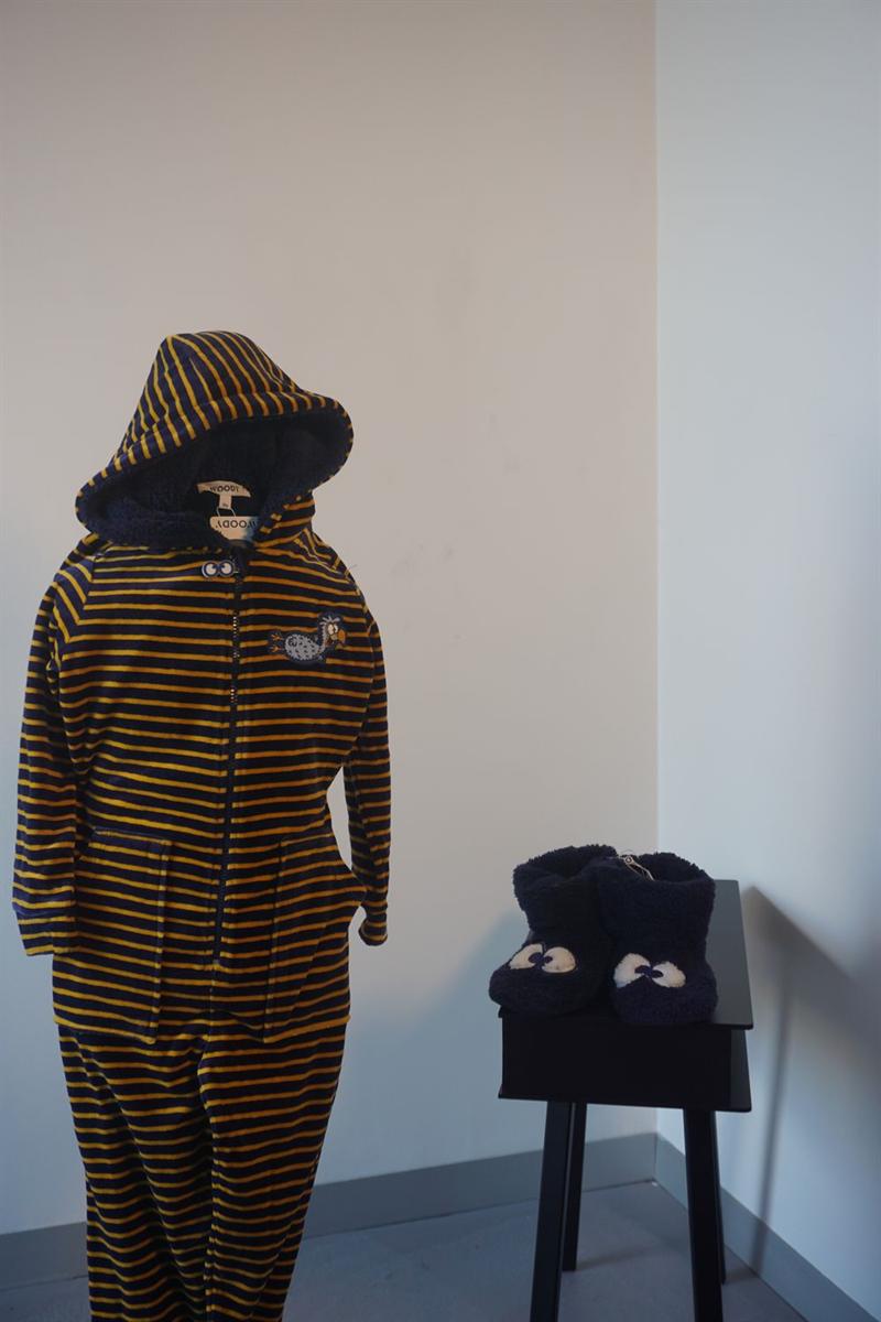 Onesie kids - Woody - 192-1-ONE-V/934 - donkerblauw-oker gestreept