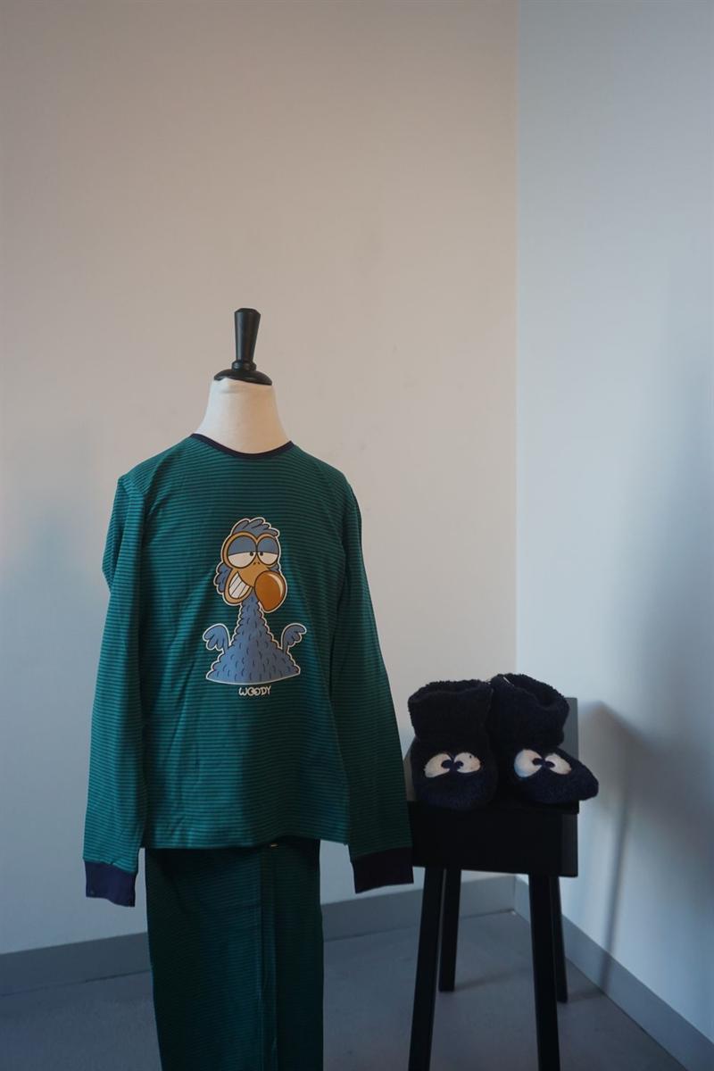 Pyjama jongens - Woody - 192-1-PZL-Z/933 - donkerblauw-groen gestreept
