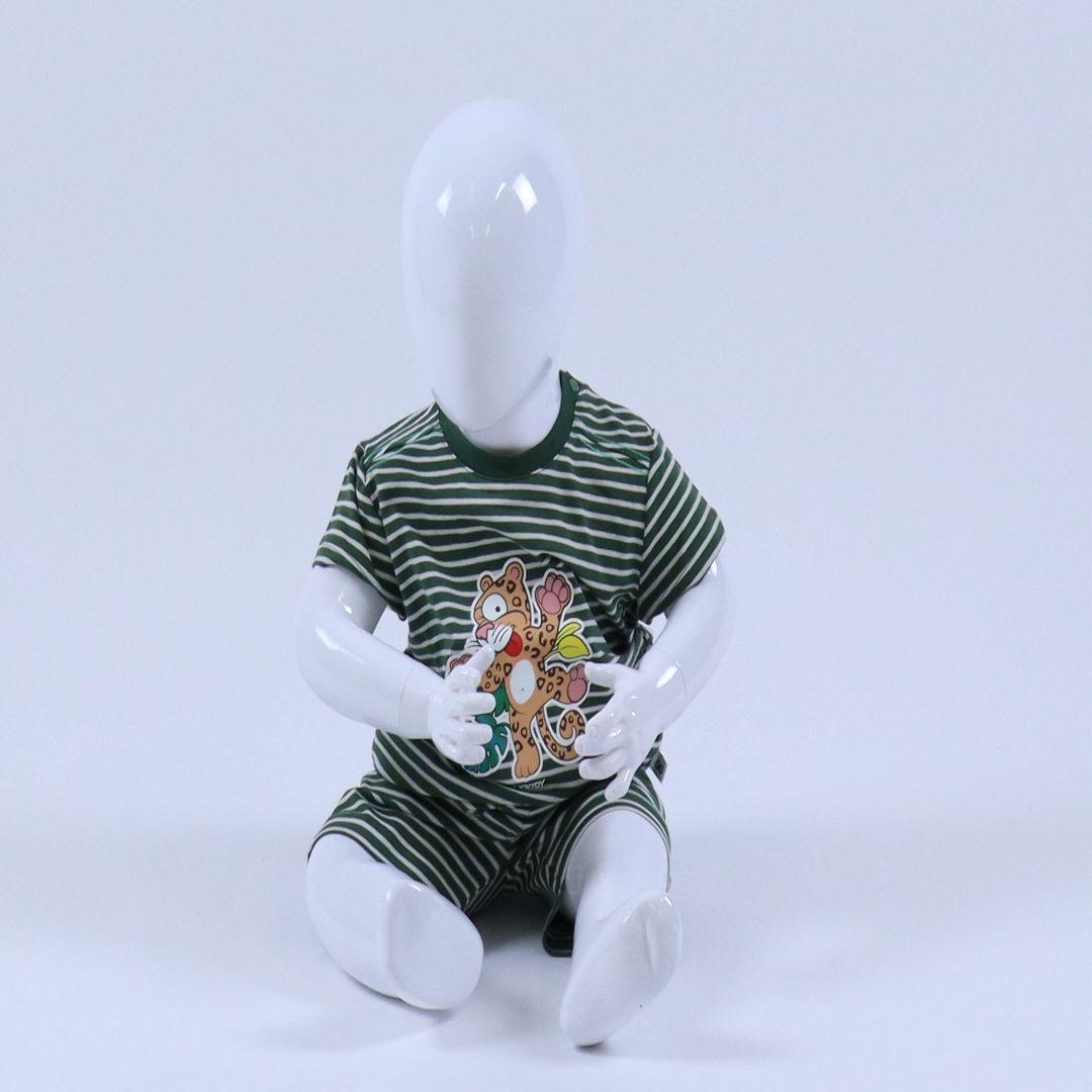 Pyjama baby - Woody - 201-3-PZA-Z/916 - donkergroen-gebroken wit gestreept