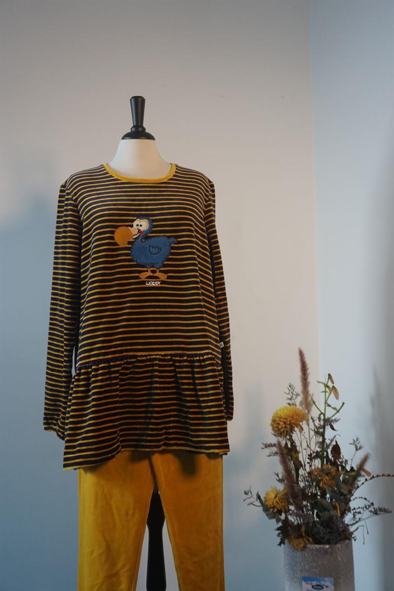 Pyjama dames - Woody - 192-1-PDL-V/934 - donkerblauw-oker gestreept