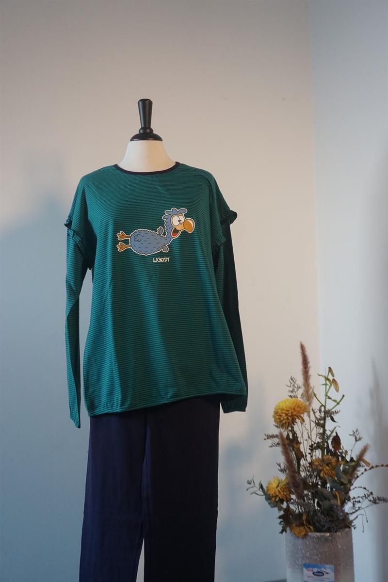 Pyjama dames - Woody - 192-1-PZG-Z/933 - donkerblauw-groen gestreept