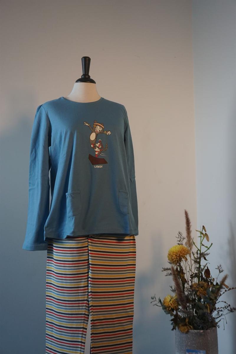 Pyjama dames - Woody - 202-1-BSL-S/845 - blauw