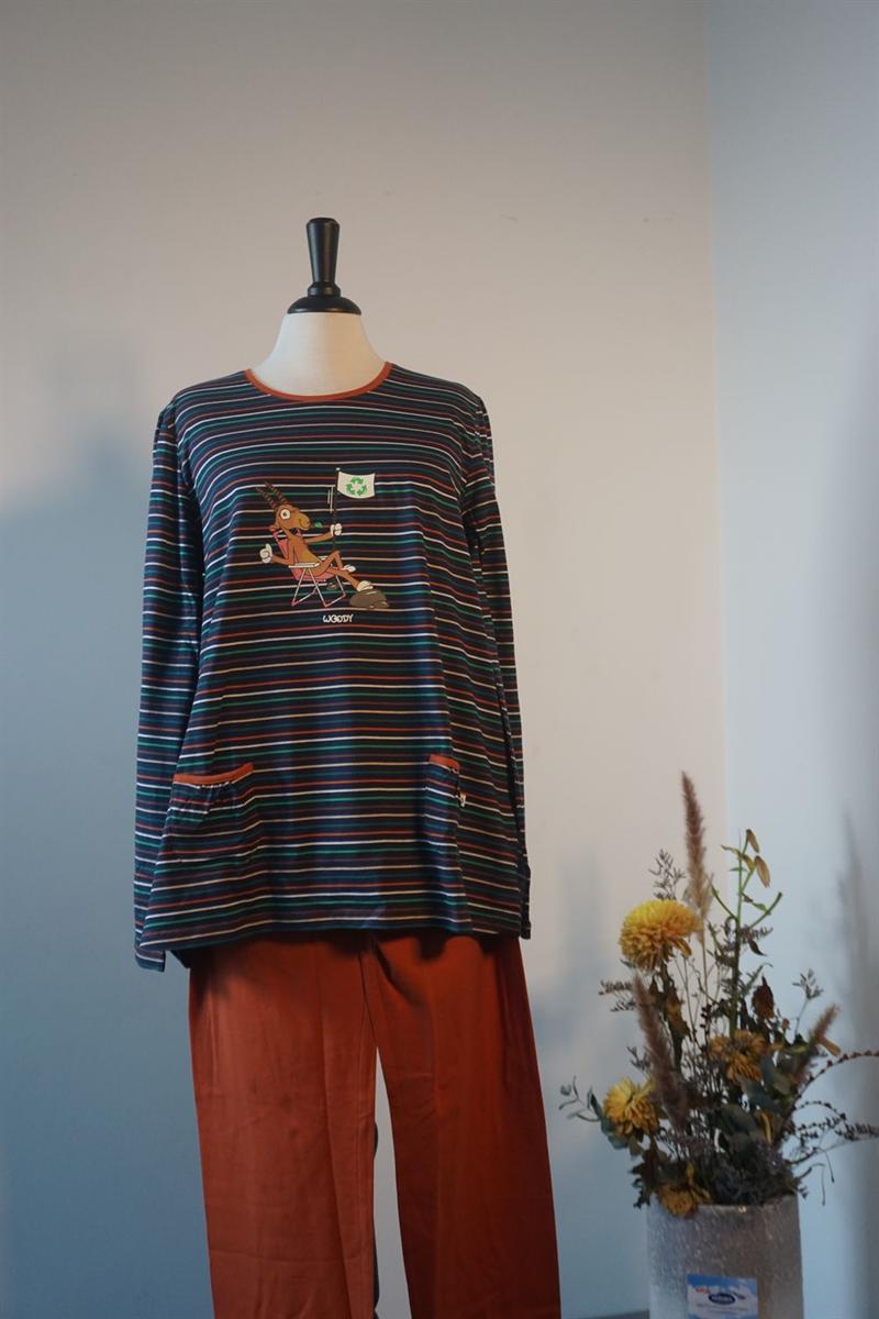 Pyjama dames - Woody - 202-1-BSL-S/987 - multicolor gestreept