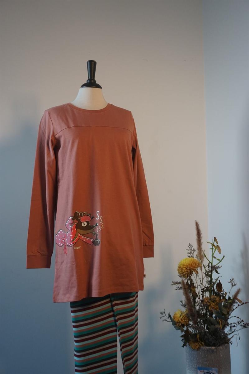 Pyjama dames - Woody - 202-1-POP-S/419 - blushroze