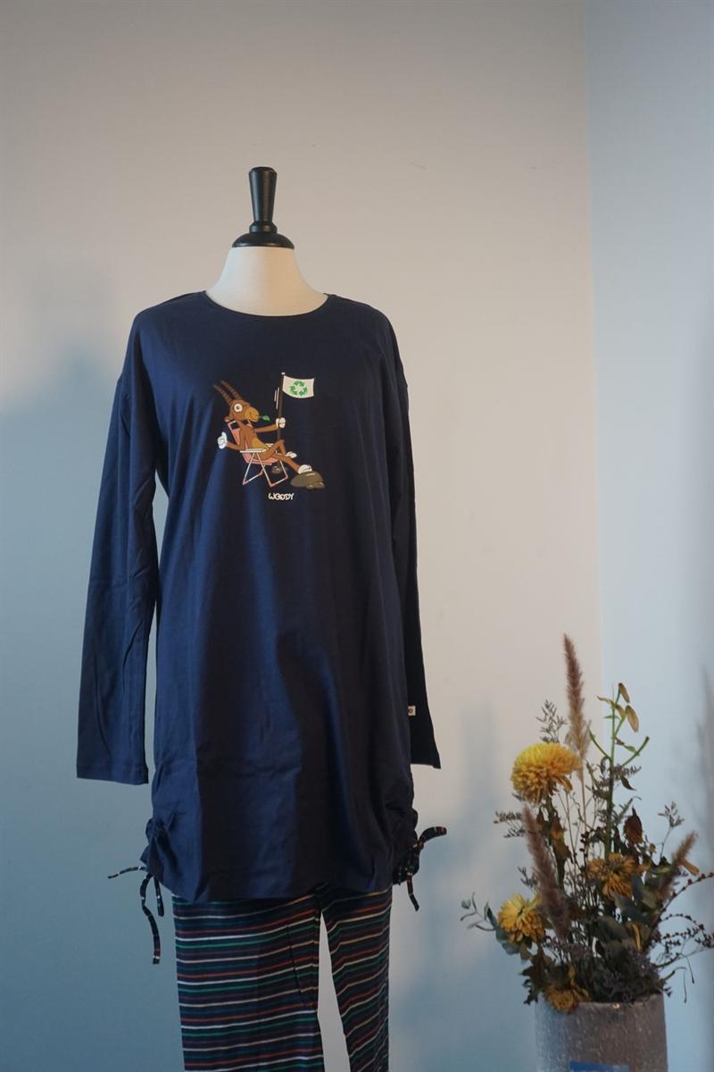 Pyjama dames - Woody - 202-1-TUL-S/895 - donkerblauw