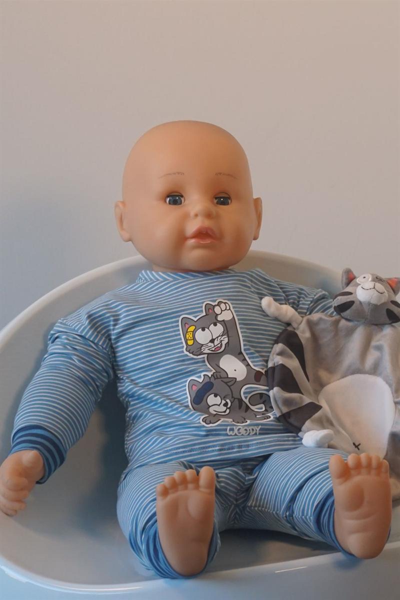 Pyjama baby - Woody - 202-3-PZG-Z/981 - grijs met kat gestreept