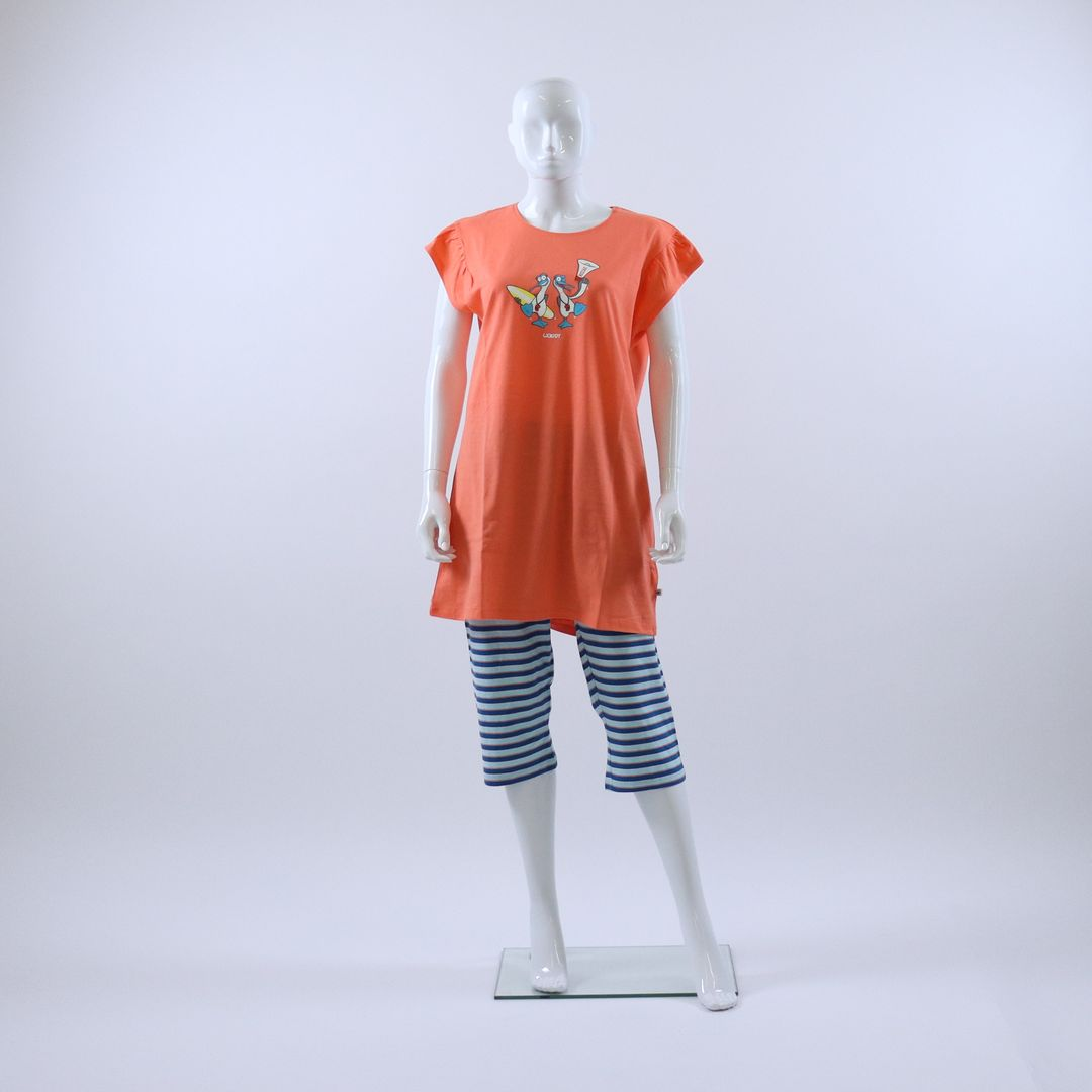 Pyjama dames - Woody - 211-1-BAB-S/555 - KORAALROZE