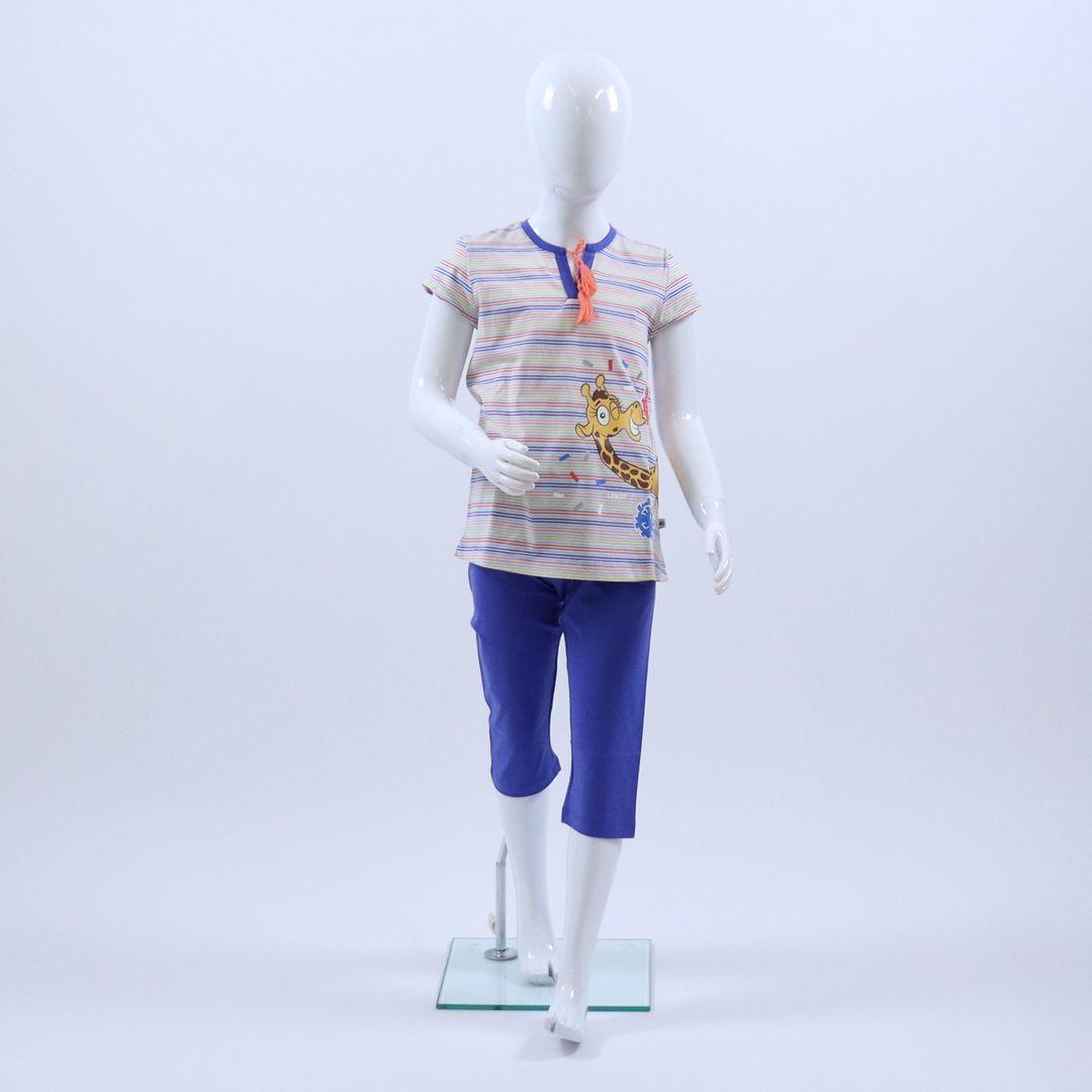 Pyjama meisjes - Woody - 201-1-BSK-S/900 - veelkleurig gestreept