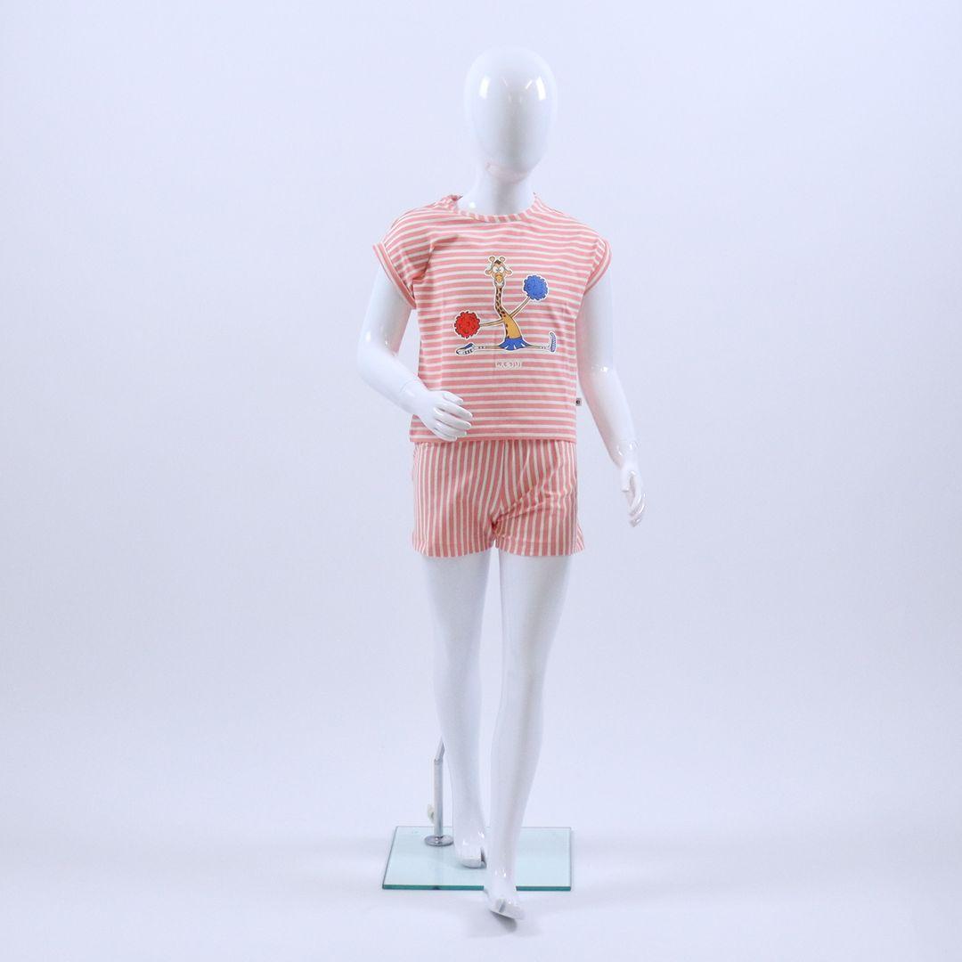 Pyjama meisjes - Woody - 201-1-PZG-Z/926 - koraal-wit gestreept