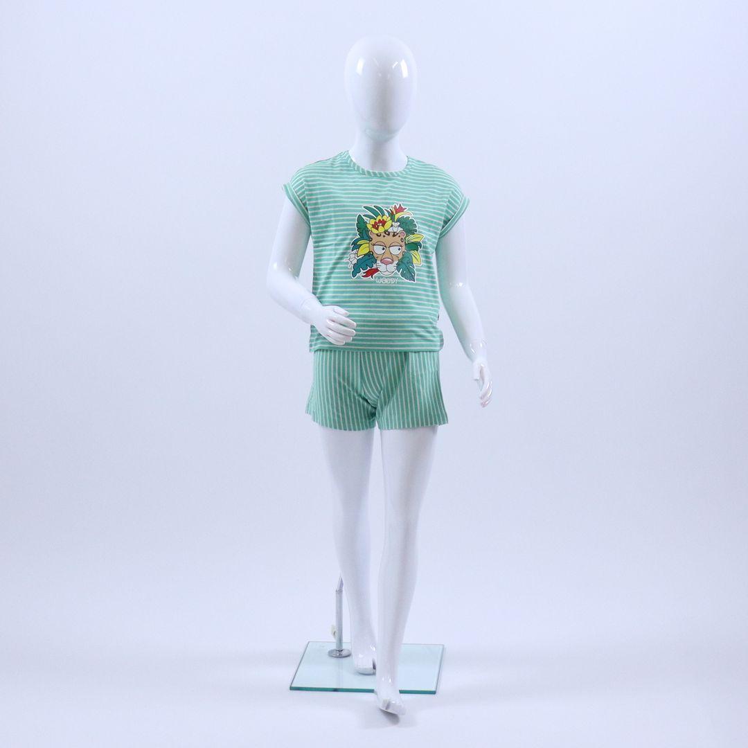 Pyjama meisjes - Woody - 201-1-PZG-Z/927 - jadegroen-wit gestreept