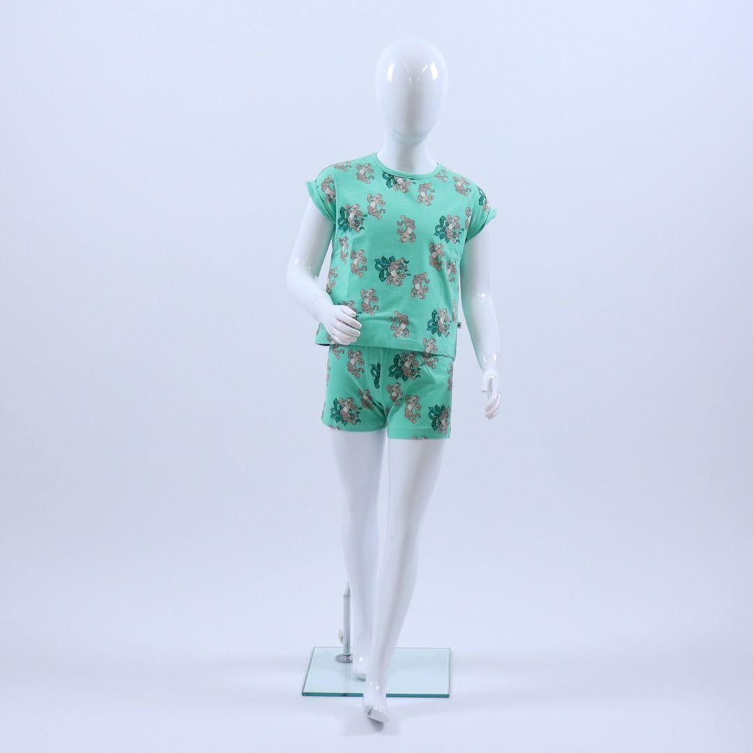 Pyjama meisjes - Woody - 201-1-PZG-Z/973 - jadegroen met panter