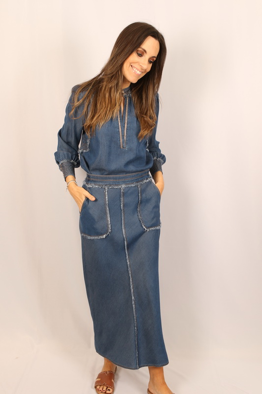 Gustav - Rok - Elly bias cut skirt - 40553 7363 9321 ink blue